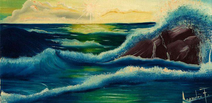 a painting of water splashing on rocks