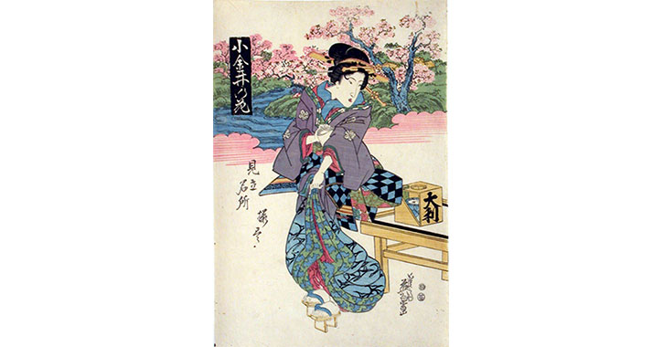 japanese woodcut of woman standing