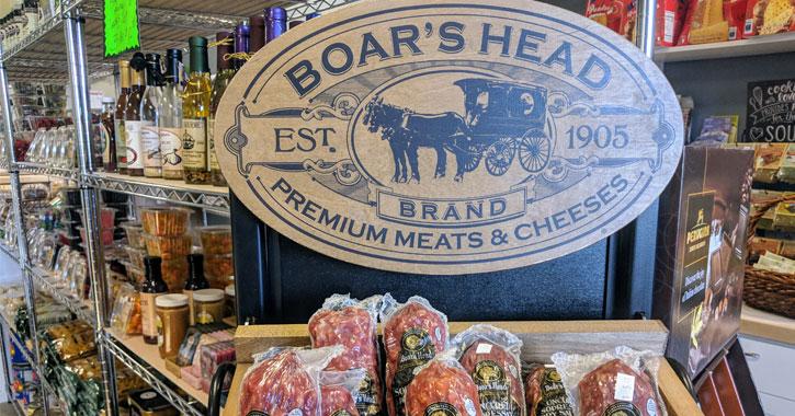sign of Boar's Heads in deli