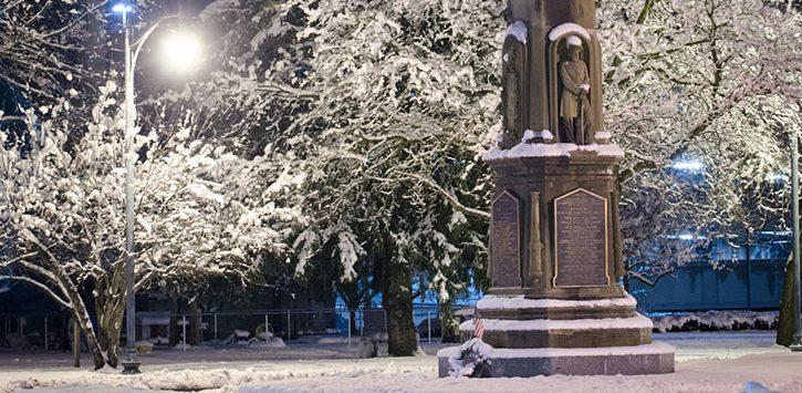 historic statue near snow