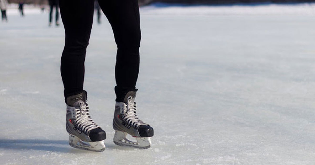 close up of person ice skating