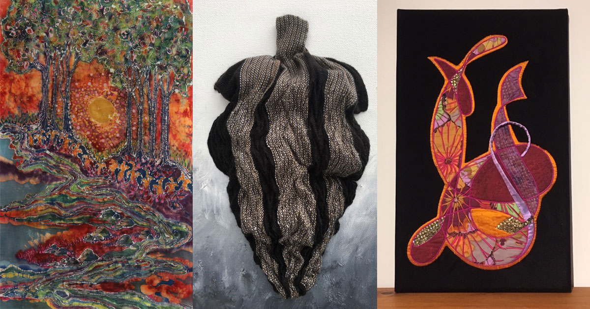 image split in three of fiber art pieces