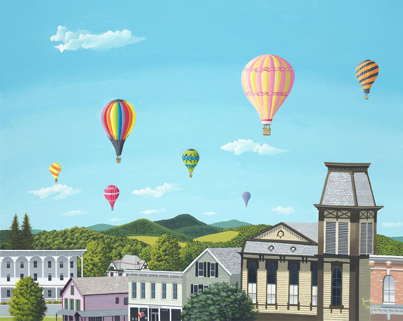 painting of hot air balloons