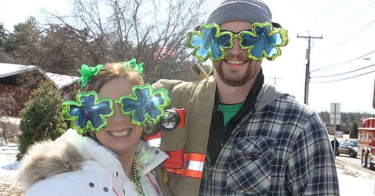 couple with clover sunglasses