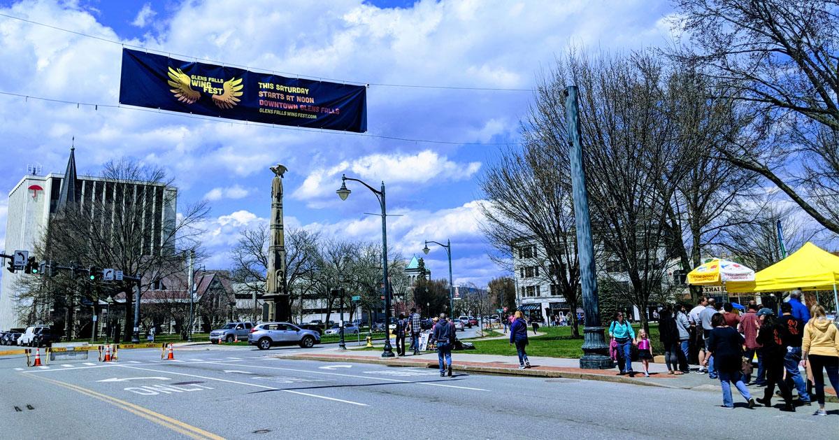 Wing Fest banner over Glens Falls street