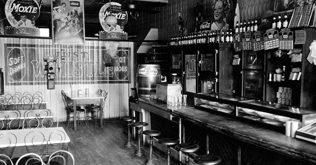 black and white photo of restaurant