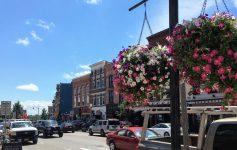 Glens Falls street with hanging baskets