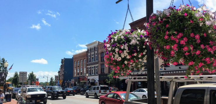Glens Falls street with hanging baskets