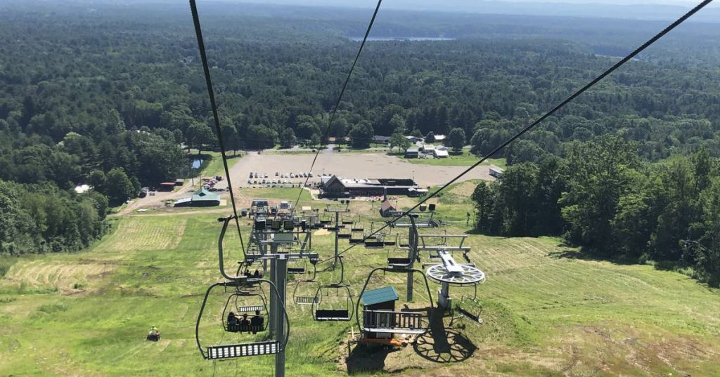 riding down chairlift