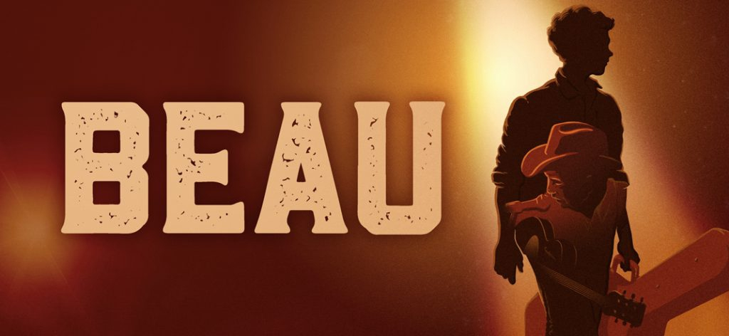 a promotional image for beau, with the silhouettes of a boy and a man with a guitar