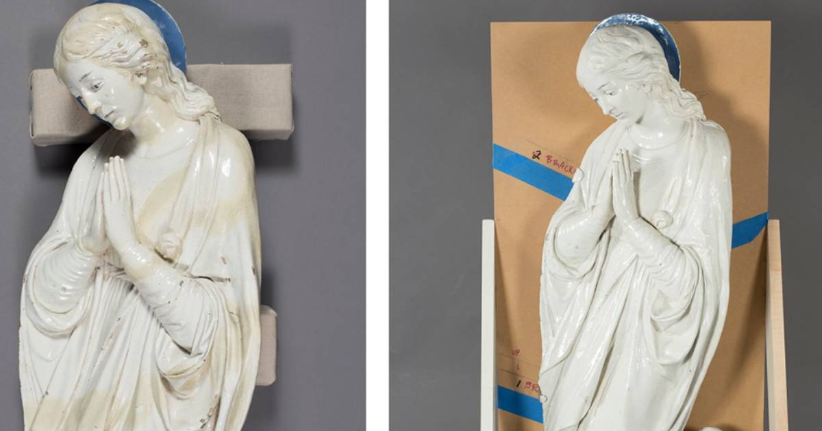 before and after Madonna statue