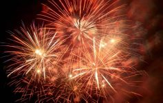 orangish red fireworks