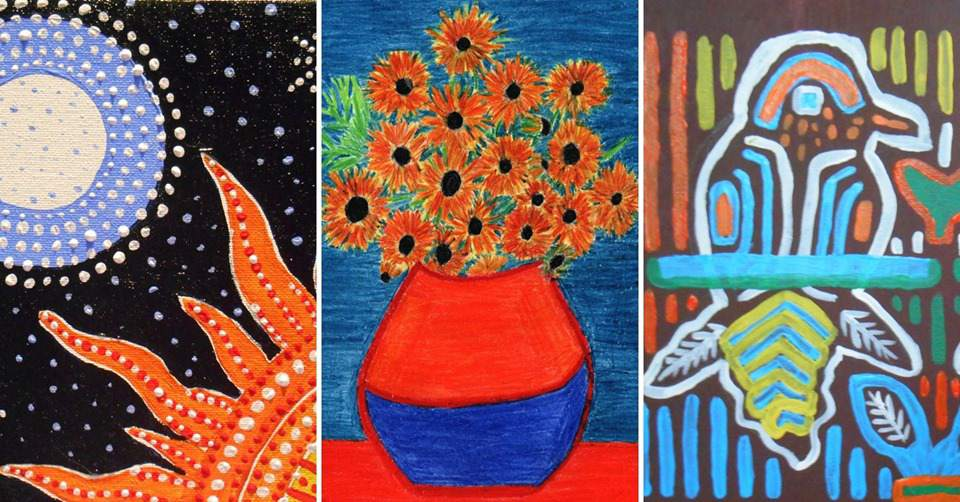 paintings of the sun and moon, sunflowers, and birds that participants will paint