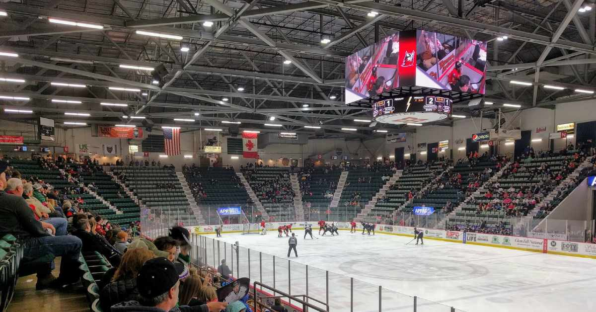 a crowd watching the adirondack thunder playing hockey in the cool insuring arena