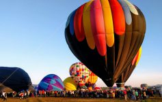 hot air balloons lifting up from crowd