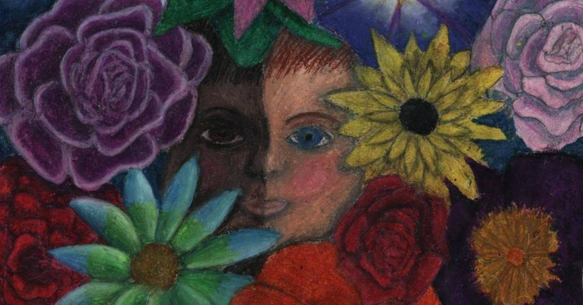 painting with a face and flowers