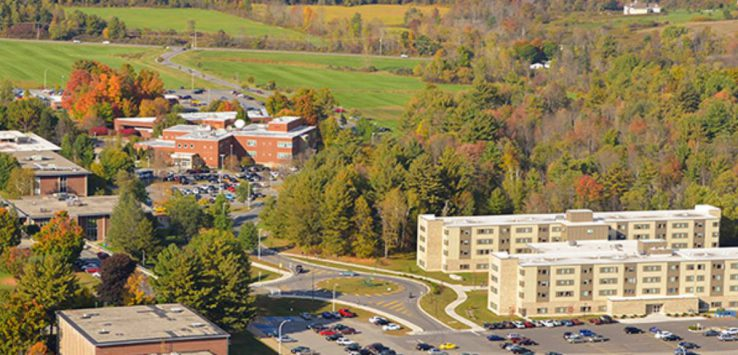 aerial view of SUNY Adirondack in the fall