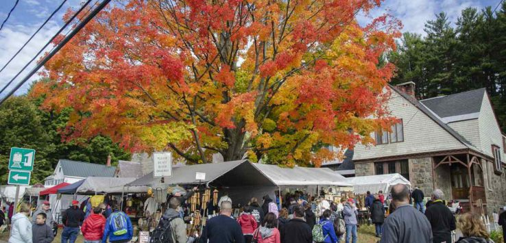 tents and fall foliage at warrensburg garage sale