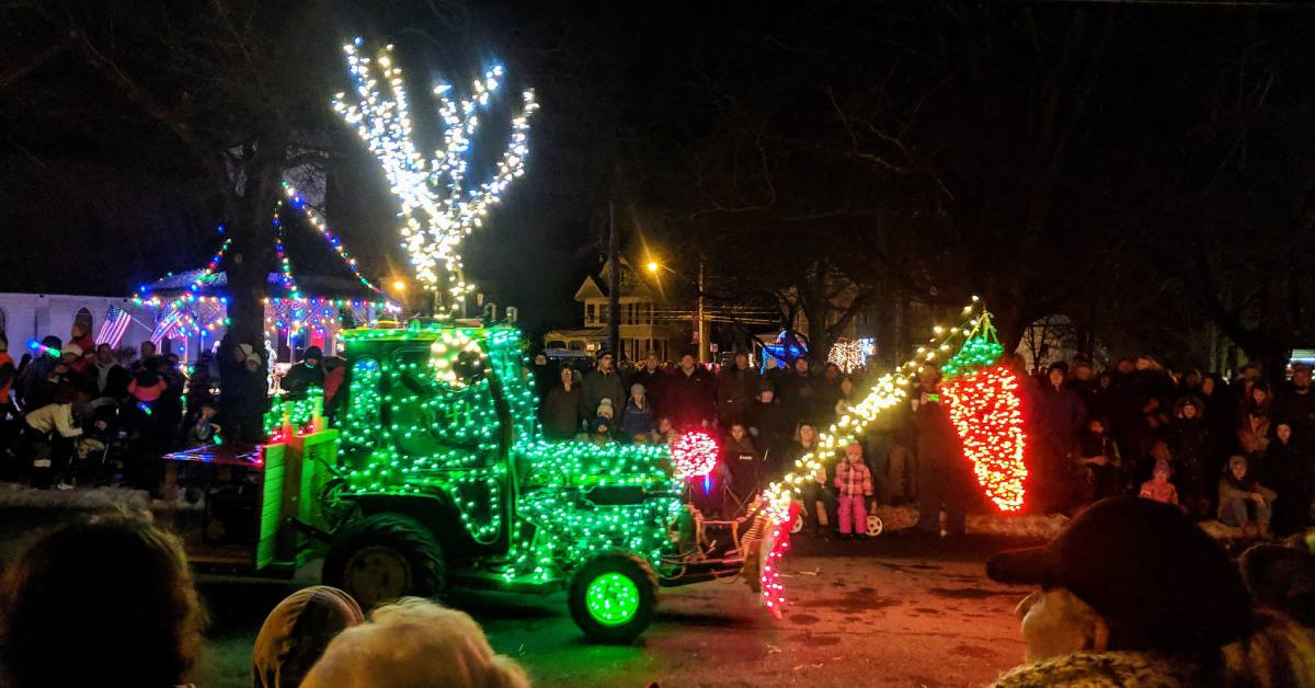 lighted tractor in the holiday parade