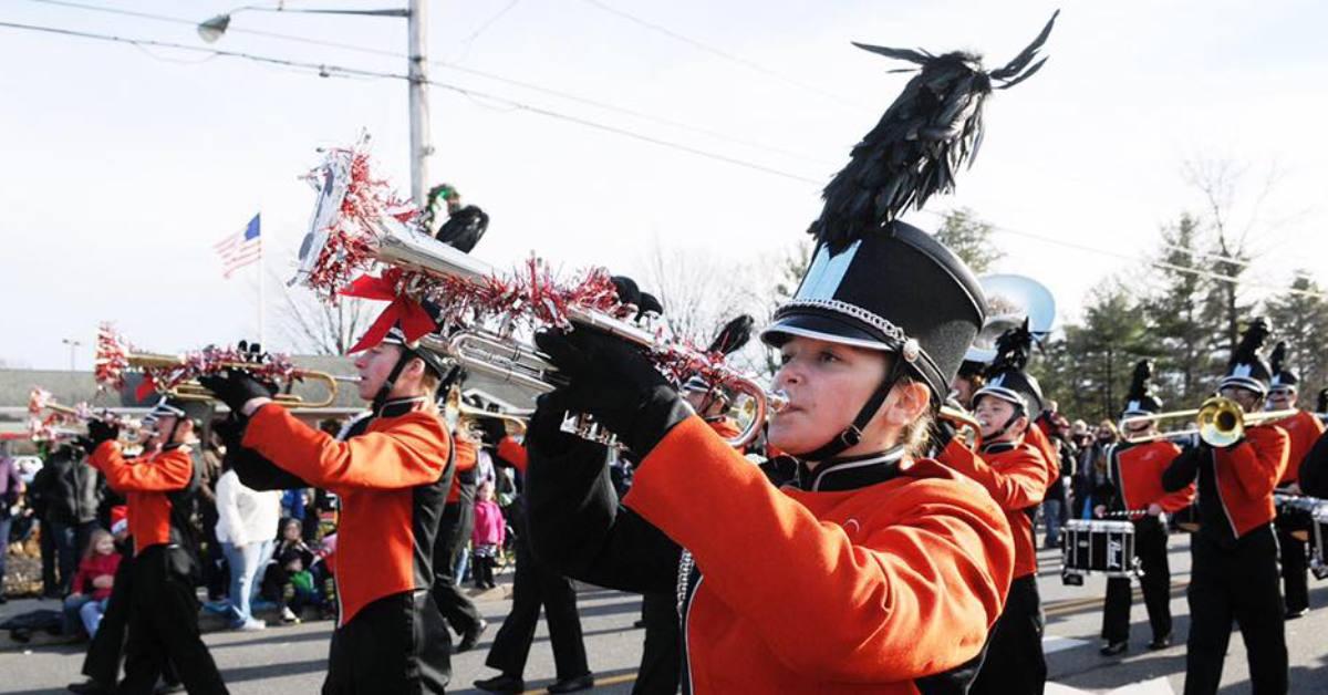 marching band in south glens falls holiday parade