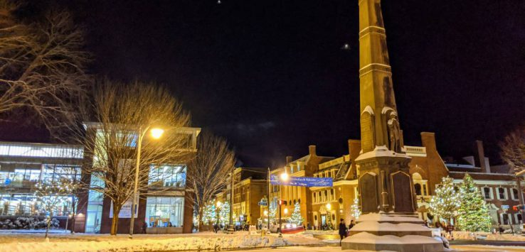 Glens Falls at night during holidays