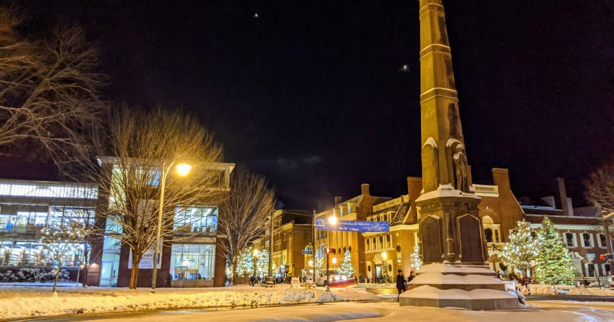 Glens Falls at night during holidays