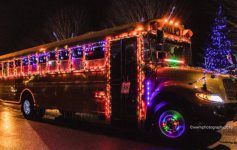 lit up school bus