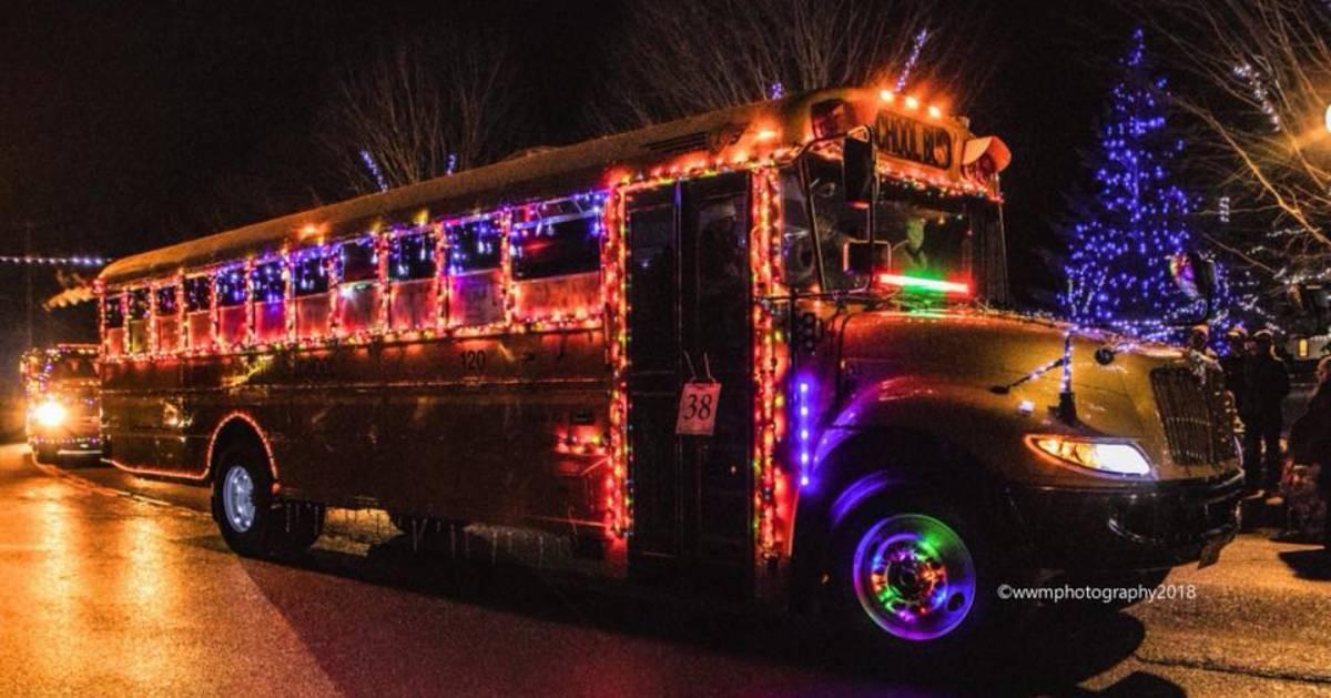 lit up school bus
