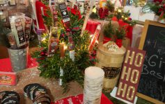 Christmas items for sale at a holiday market