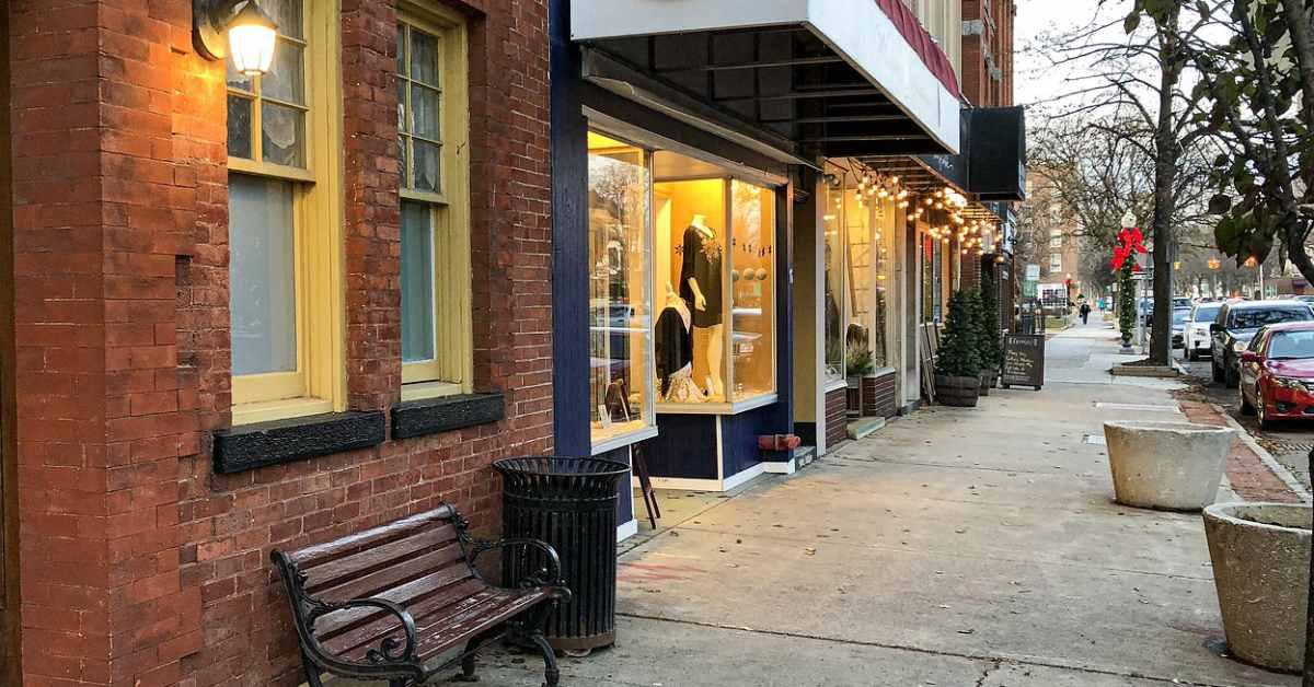 storefronts along ridge street