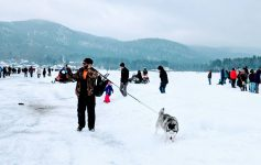 people on ice at winter carnival