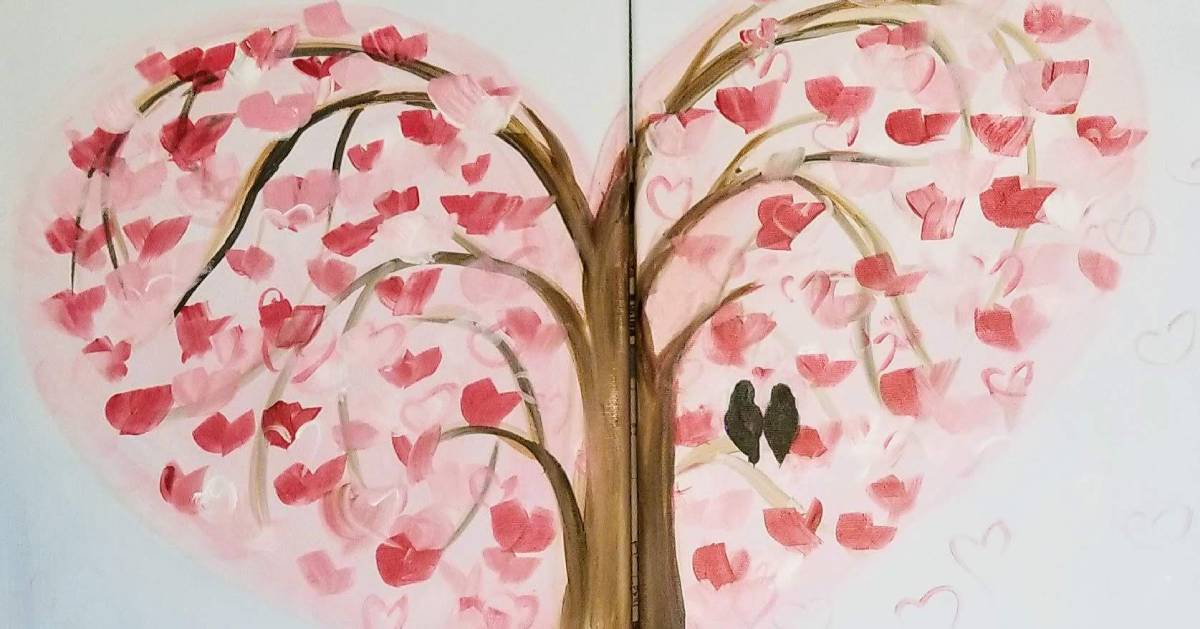 Valentine's Day tree painting