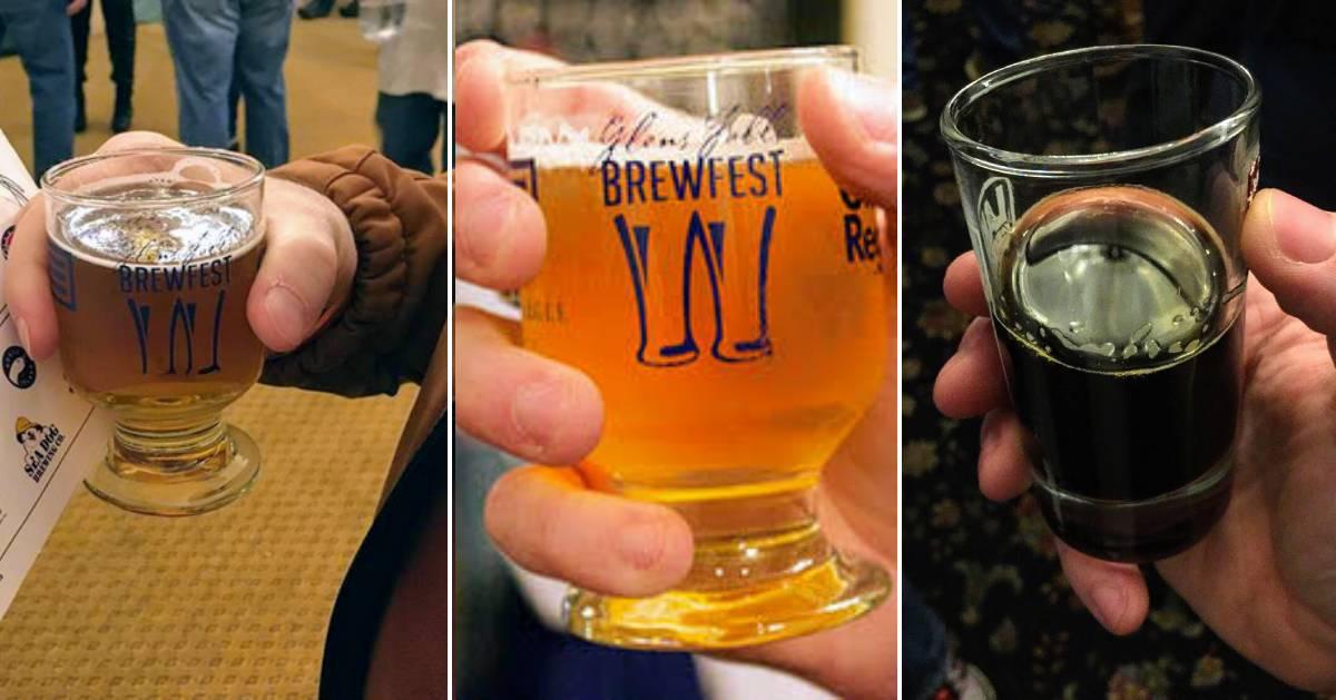 three part image of beer samples