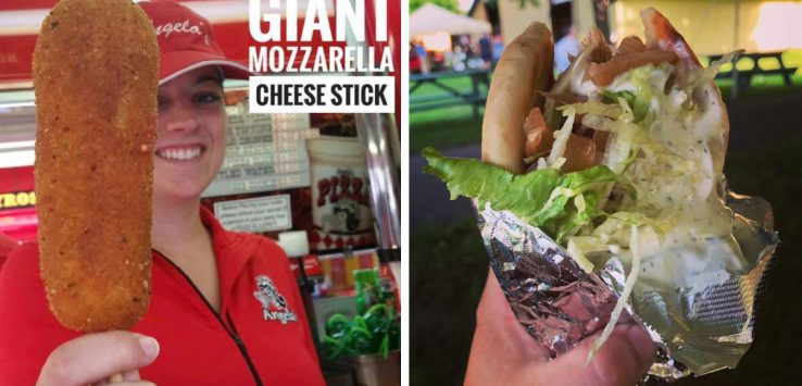 two photos, one of a sandwich in foil, another of a woman holding a large mozz stick