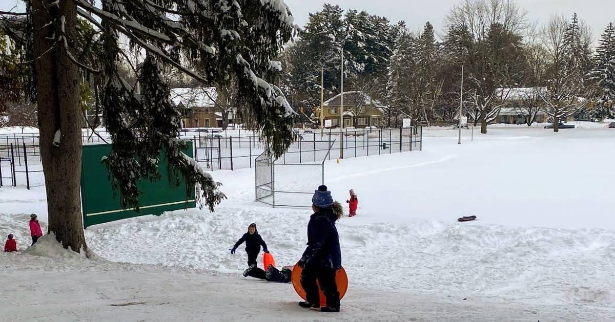 kids on sledding hill in park