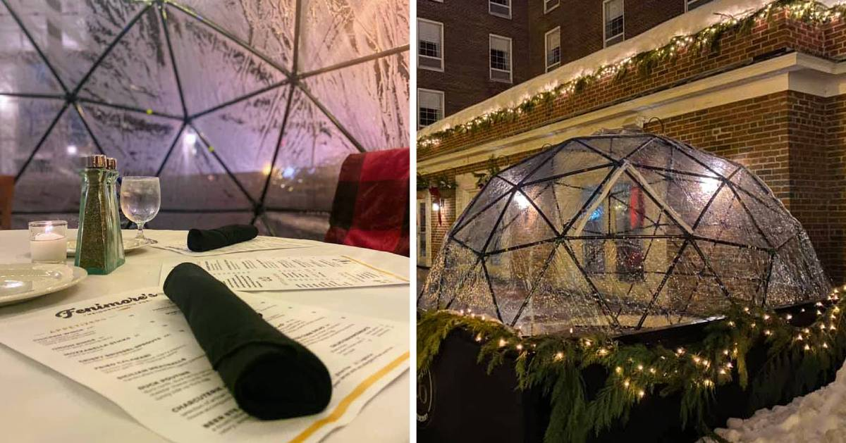 split image with dining in an igloo on the left and the outside of the igloo on the right