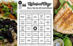 restaurant Bingo card and food