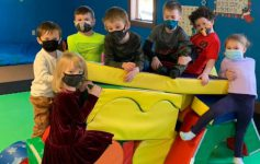 group of masked kids