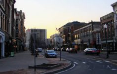 downtown Glens Falls at dusk