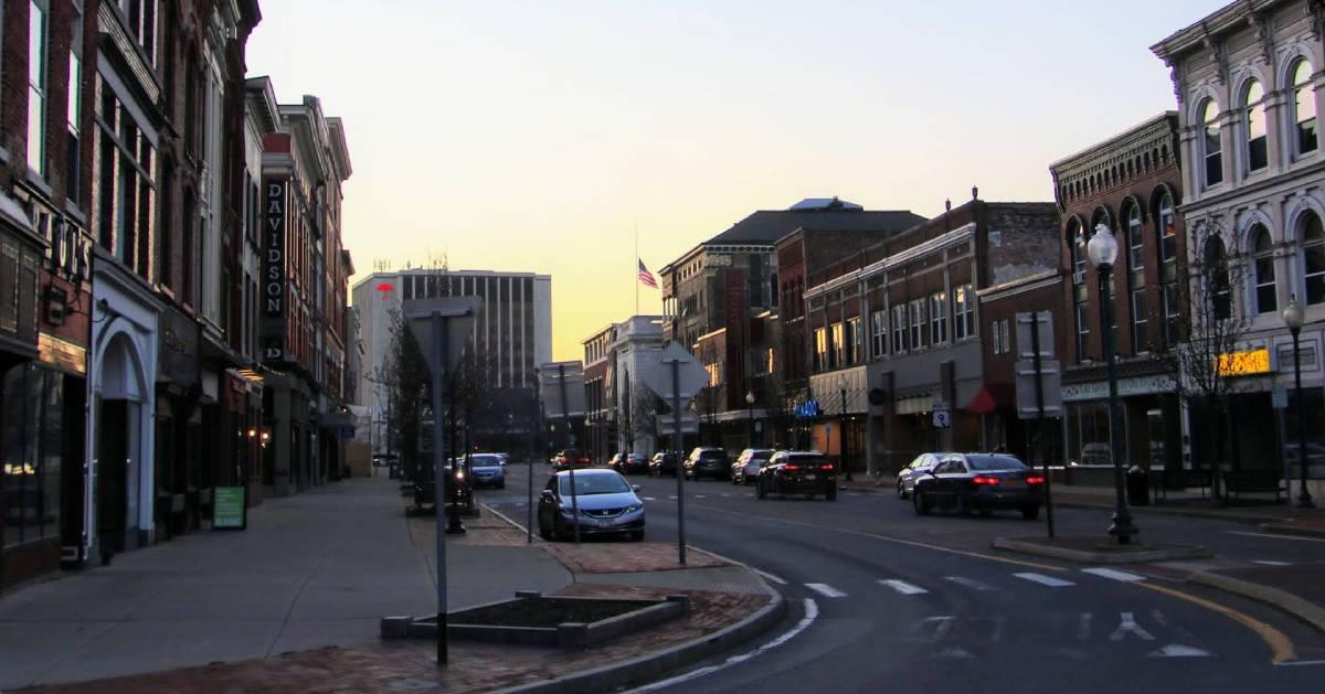 downtown Glens Falls at dusk