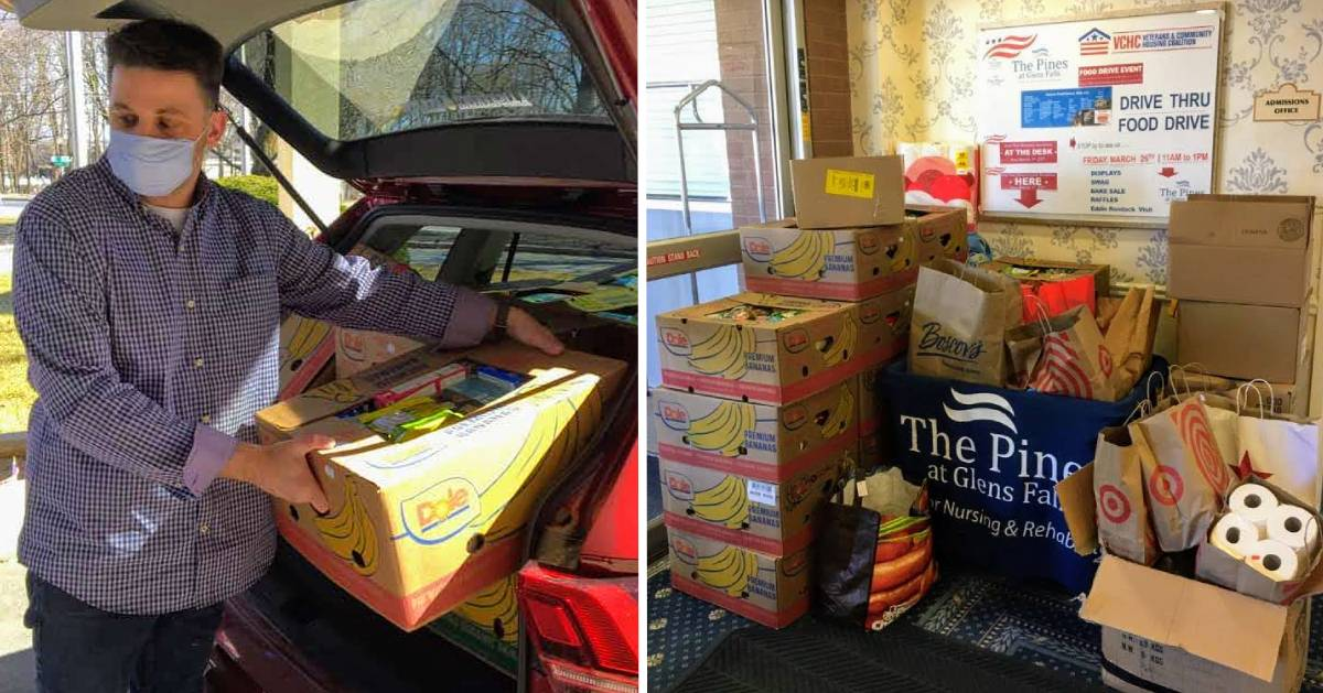 split image with masked guy taking food out of car trunk on the left and boxes of donated food on the right