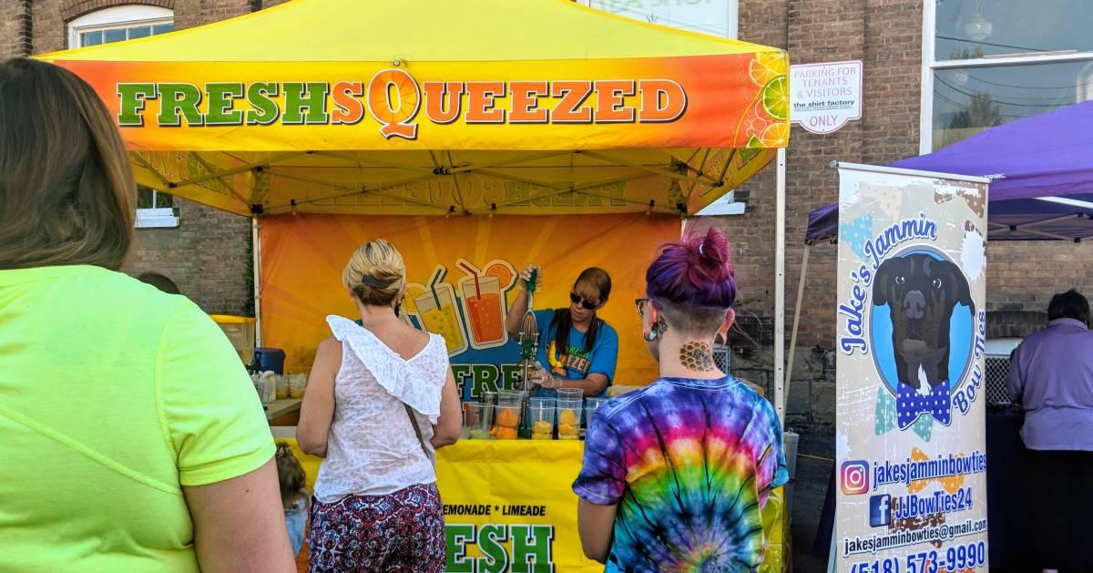 people in line for lemonade