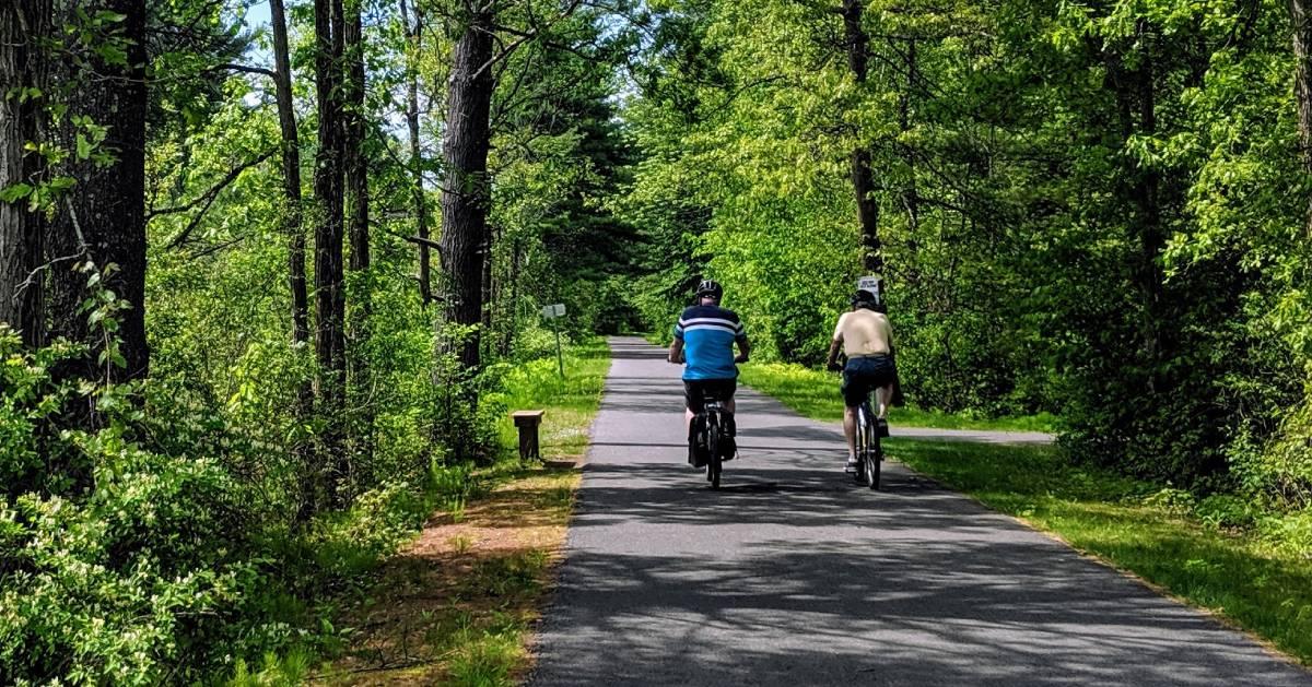 two people bike riding