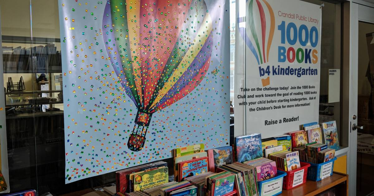 signs and books for kids in Crandall Library