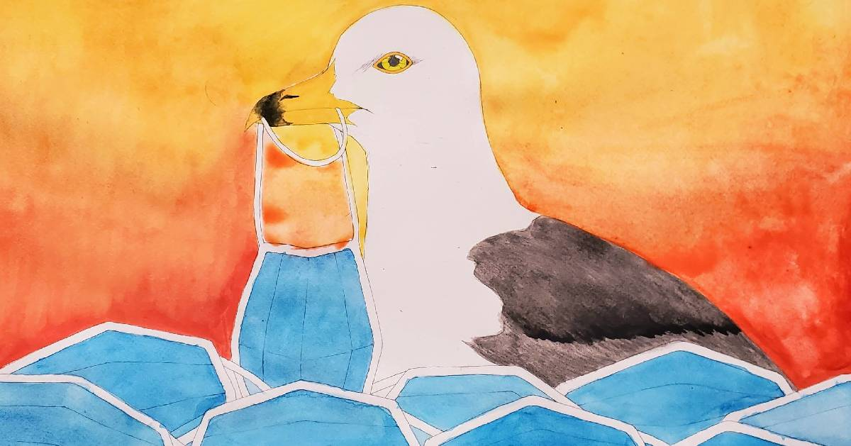 painting of seagull surrounded by face masks