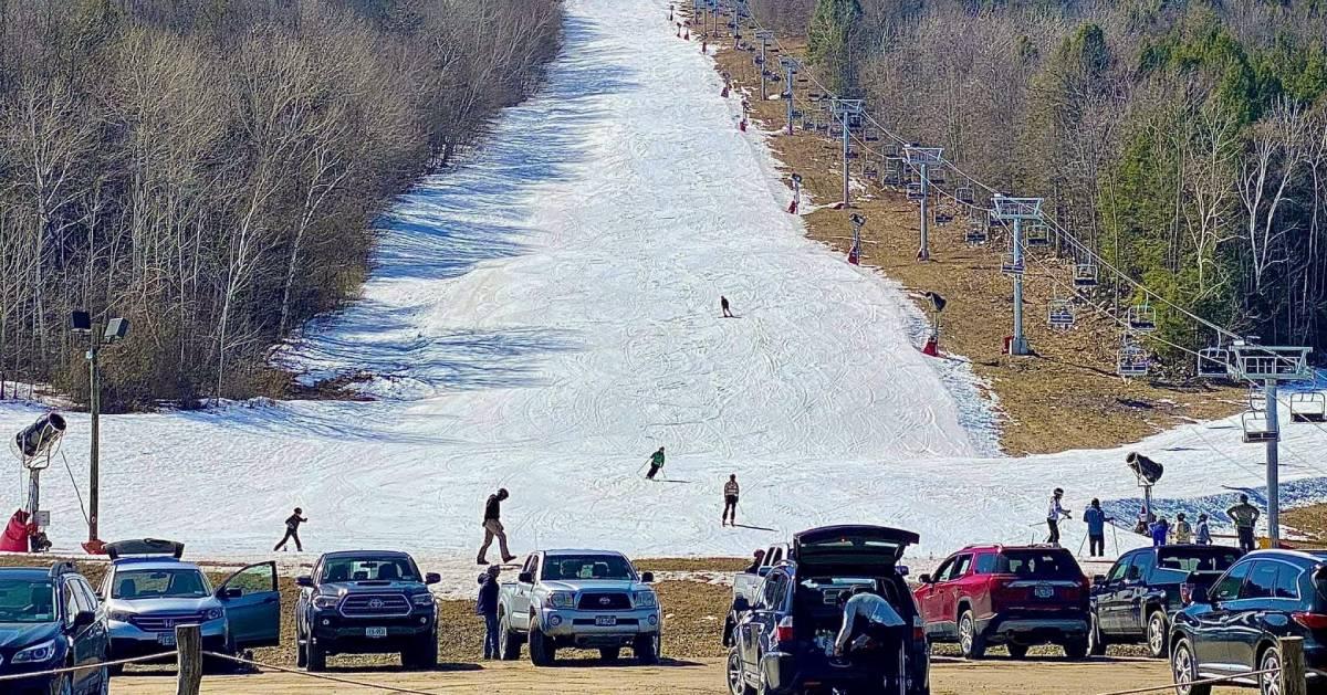 ski mountain and parking lot