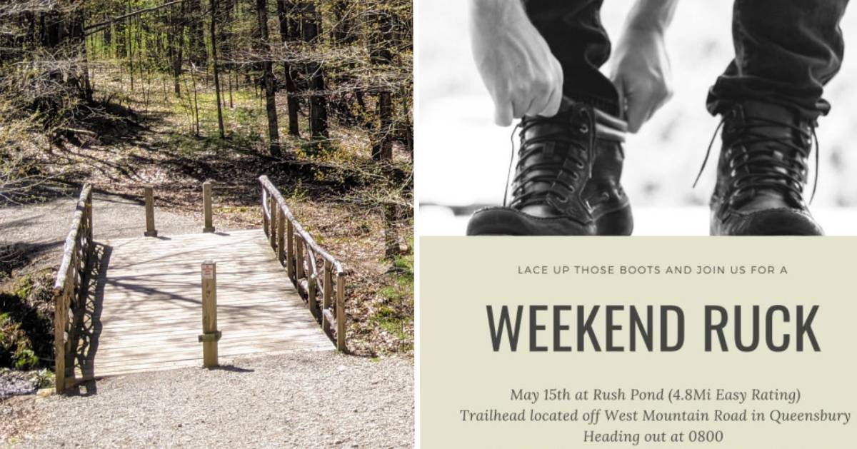 split image with bridge on trail on the left and event poster for a hike on the right