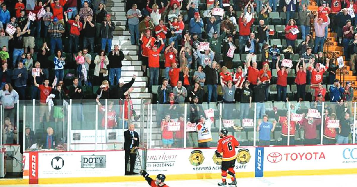 fans at a hockey game