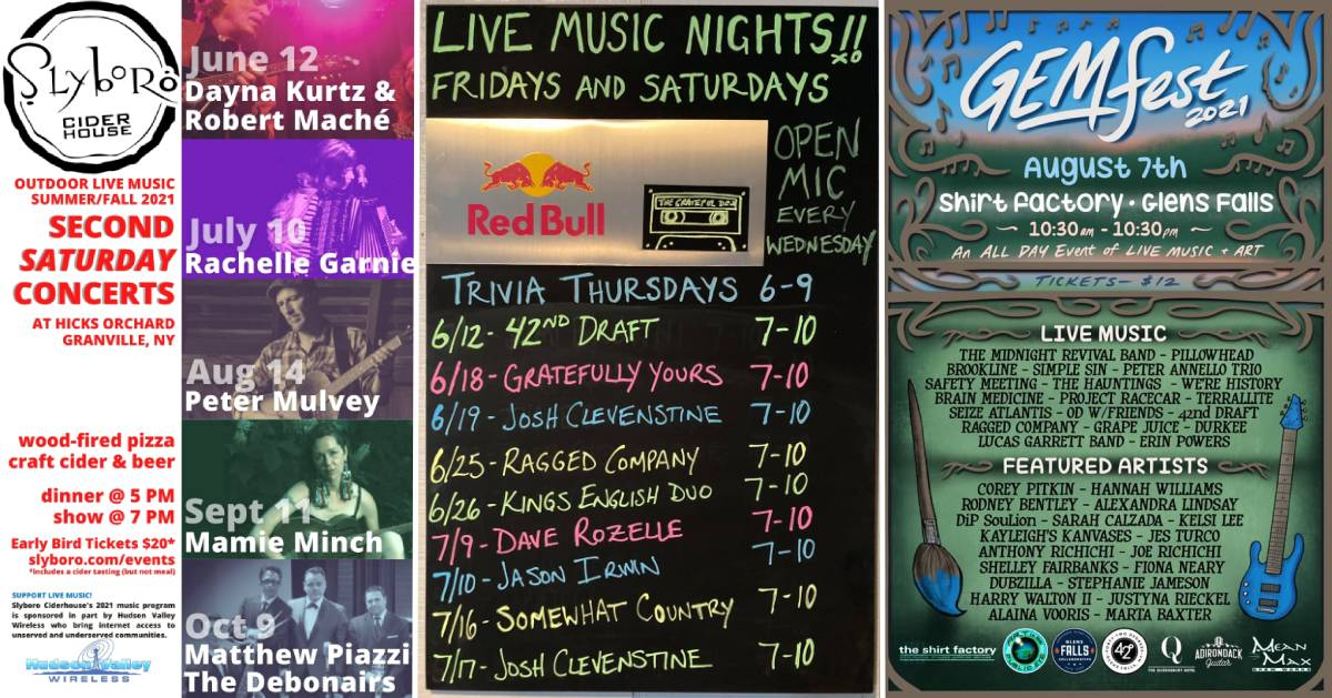 three live music lineup posters