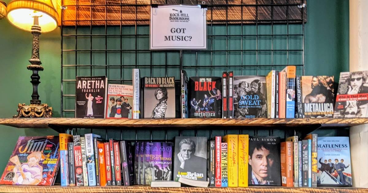 music books on shelves